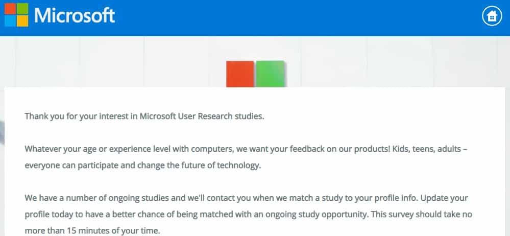Microsoft Introductory Survey Page