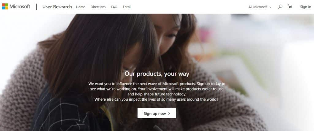 Microsoft User Research homepage