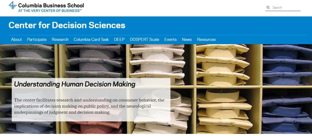center for the decision sciences homepage preview