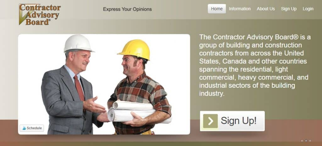 Contractor Advisory Board homepage preview