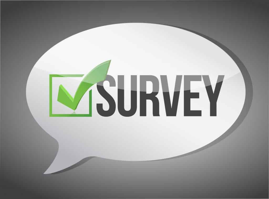survey message in a speech balloon