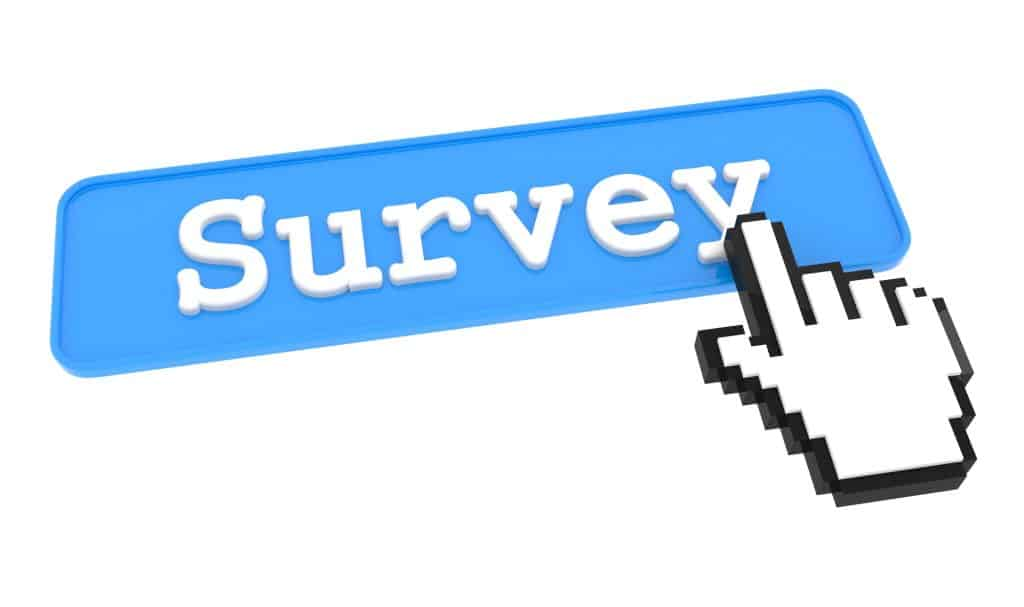 mouse coursor clicking on a blue survey button