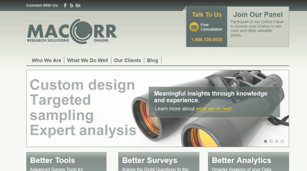 MaCorr Panel homepage preview