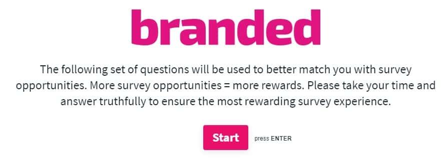Branded Surveys offers disclaimer page