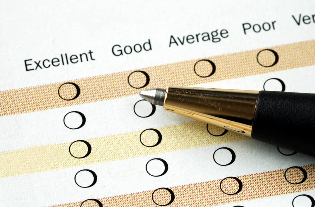 pen lying over a survey worksheet
