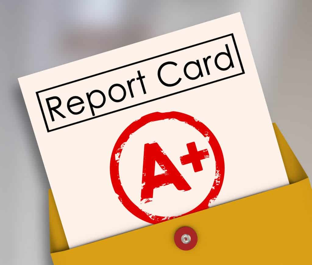 report card with an A+ grade on it