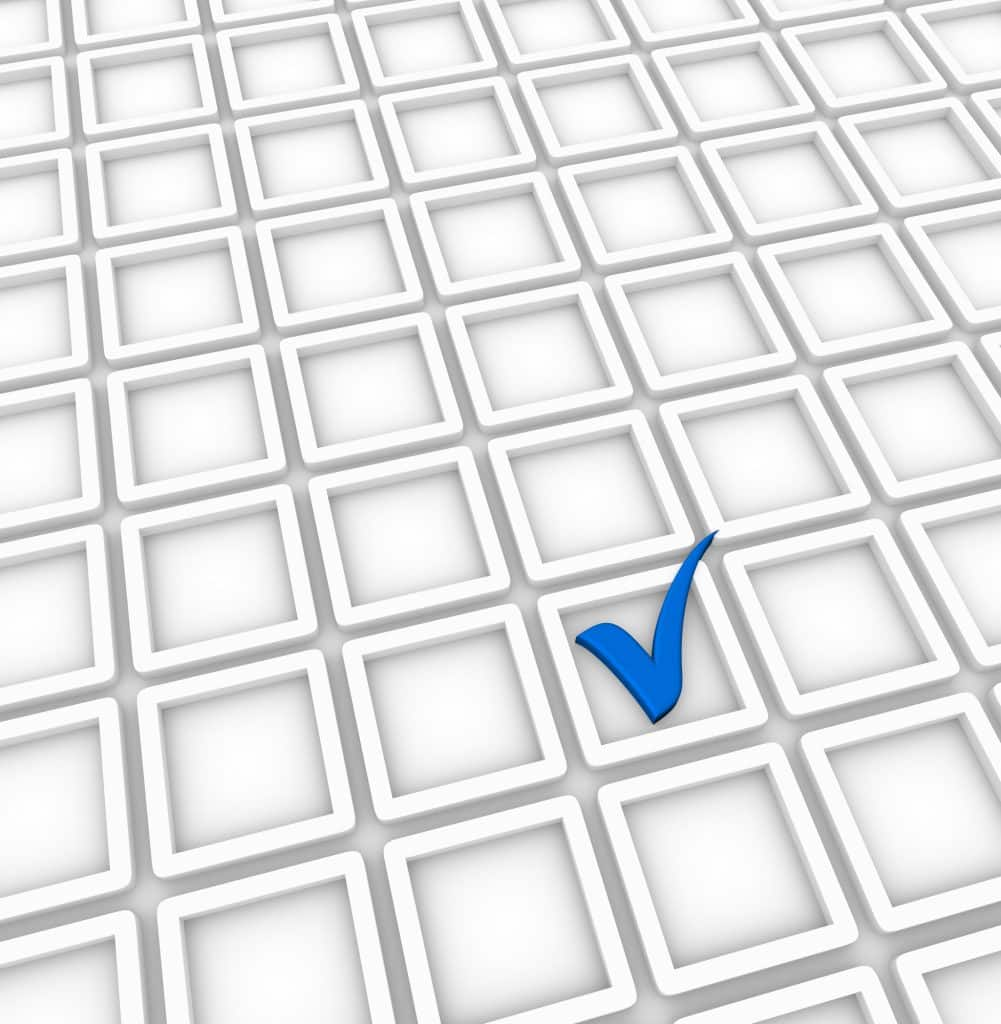empty checkboxes and one blue survey checkmark