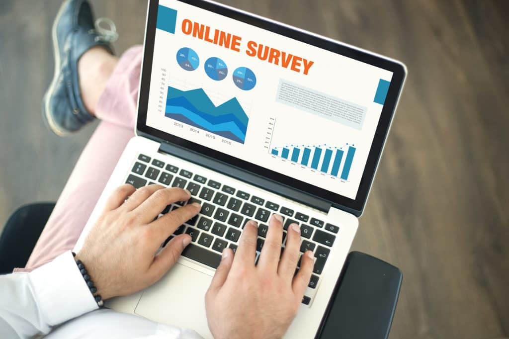 online survey screen on a laptop