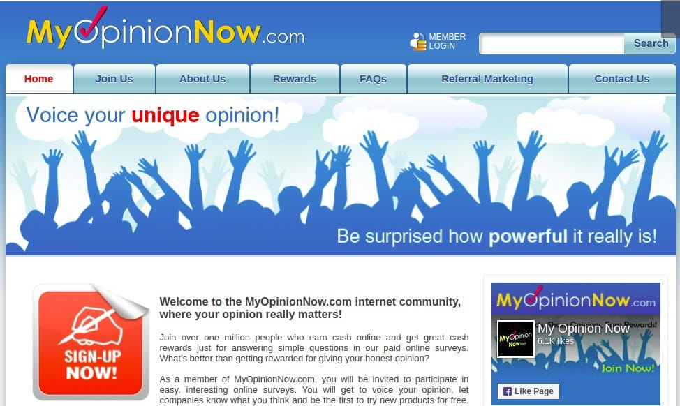 MyOpinionNow homepage preview