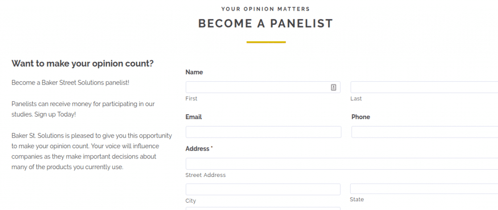 become a panelist form page