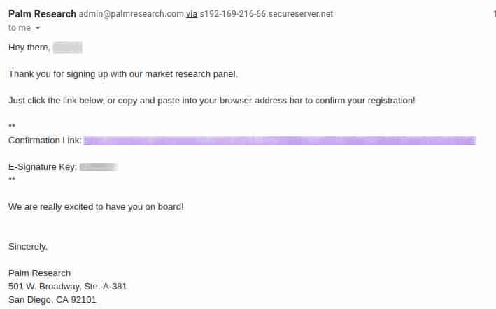 palmresearch confirmation email preview