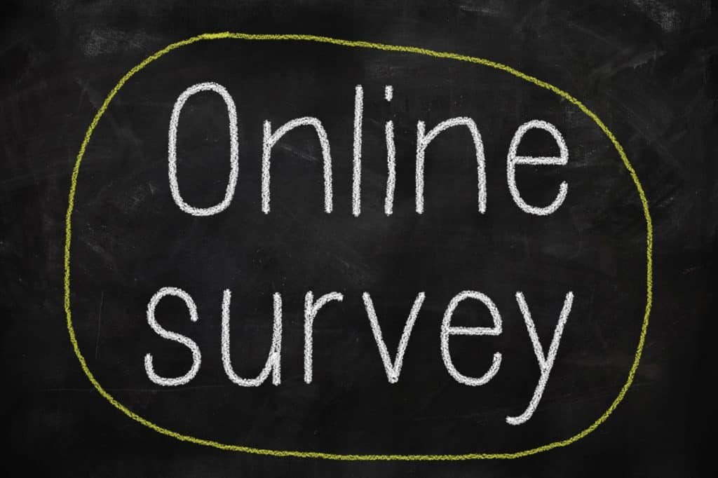 Online survey phrase on a blackboard