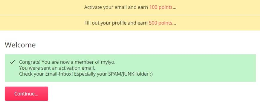 Myiyo activities for points