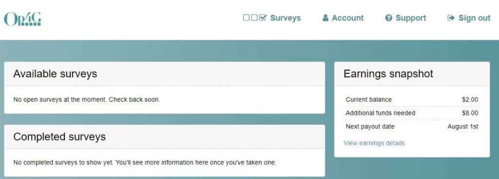 Op4G available surveys page