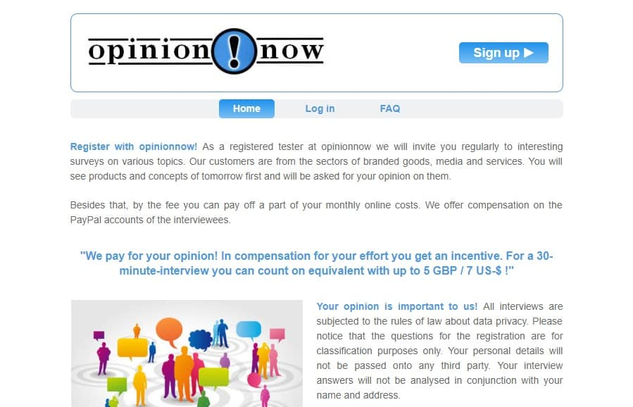 OpinionNow homepage preview