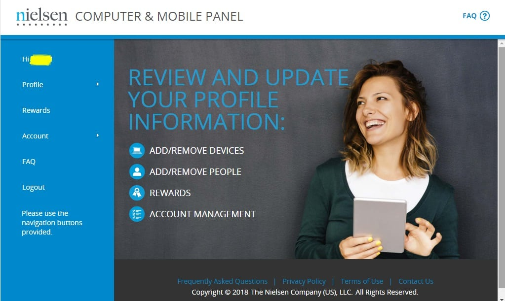 nielsen computer and mobile panel account page layout
