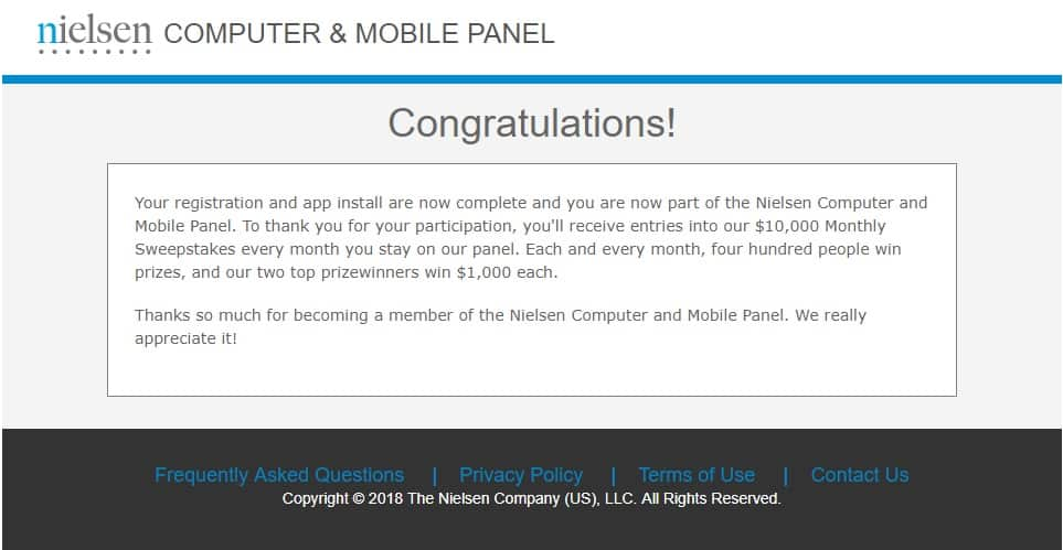 nielsen mobile panel registration confirmation page