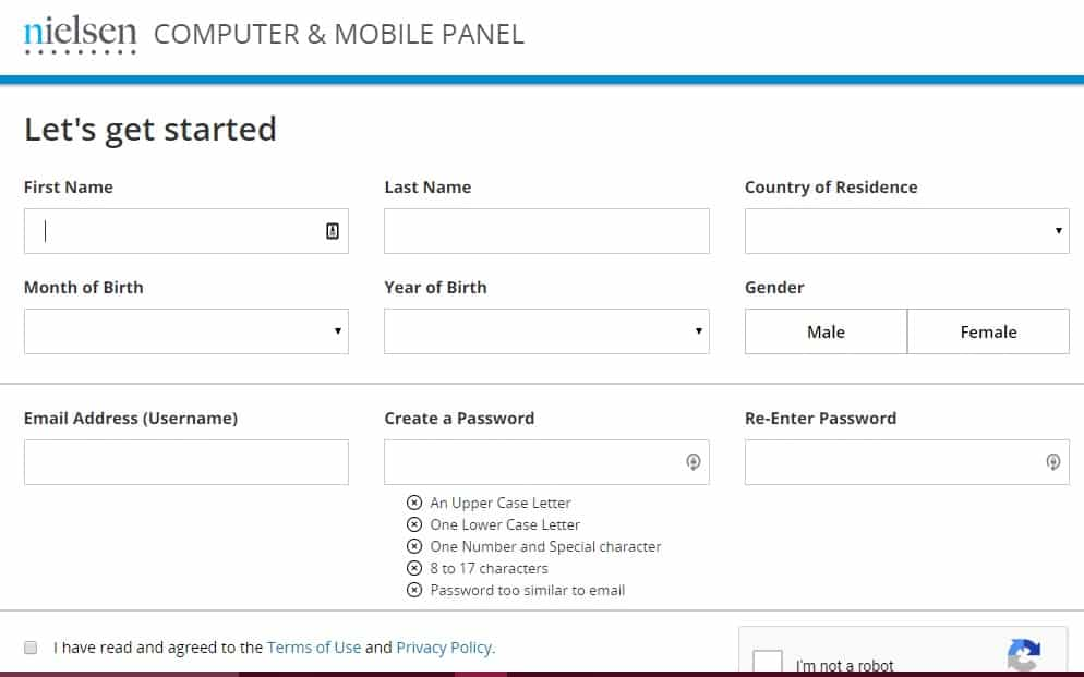 nielsen mobile panel registration page preview