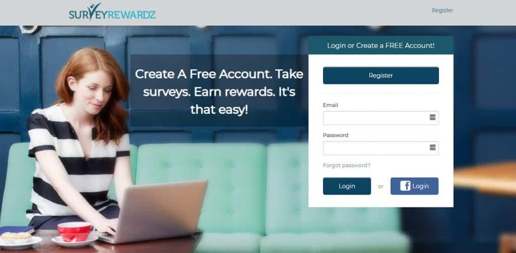 survey rewardz homepage preview
