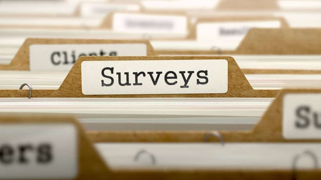 surveys information marked on a folder tag