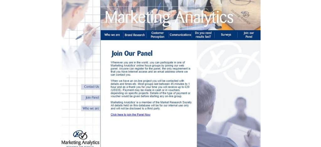 marketing analytics homepage layout preview