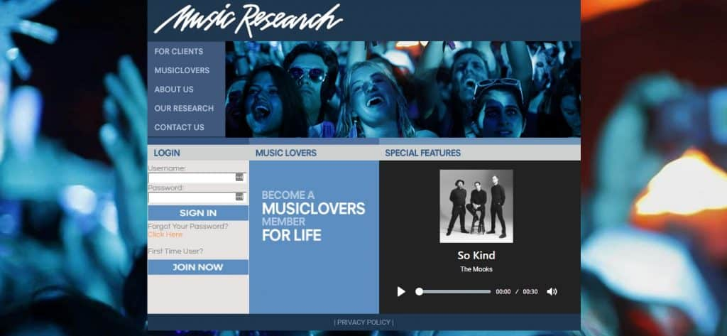 music lovers research homepage preview layout