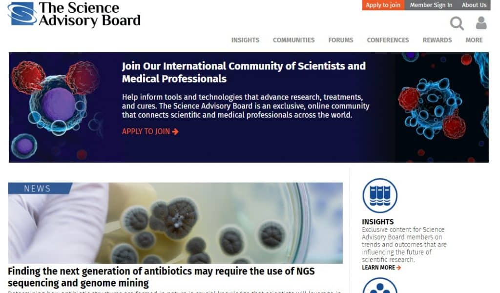 science advisory board homepage preview