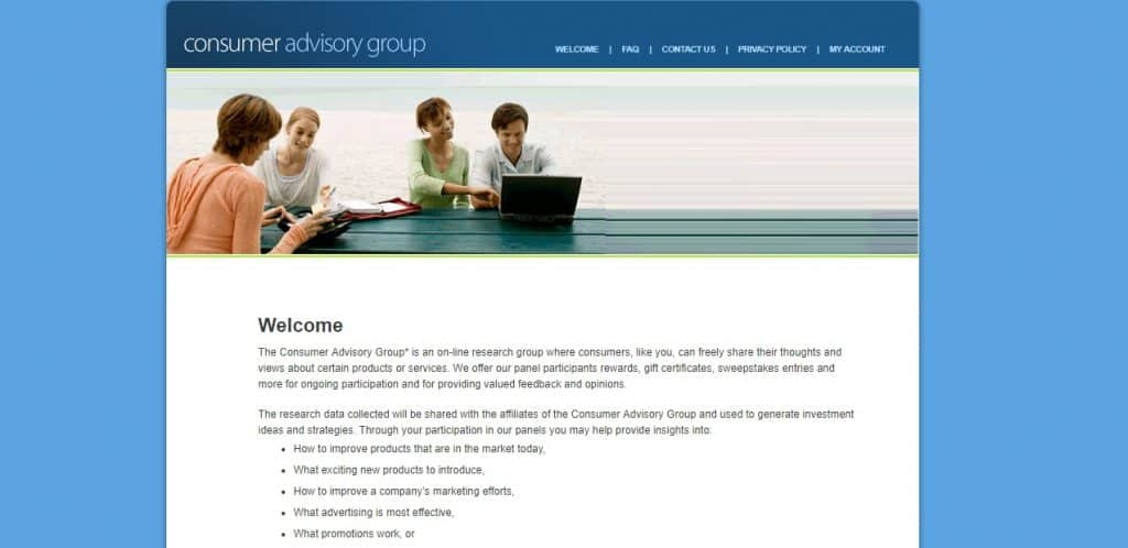 Consumer Advisory Group homepage preview