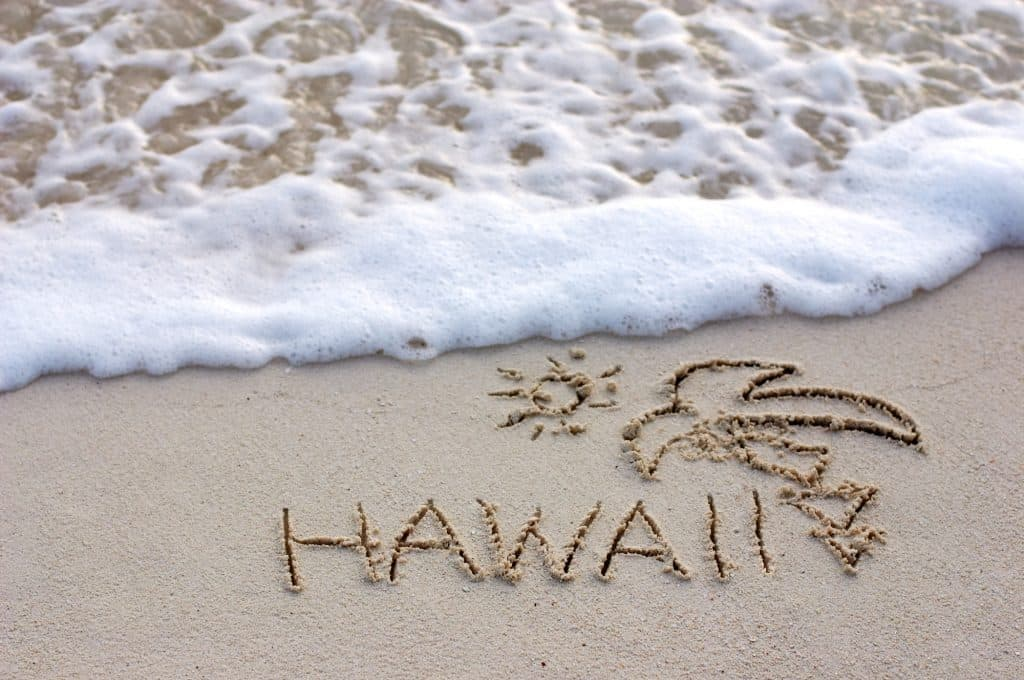 Hawaii writing in the sand