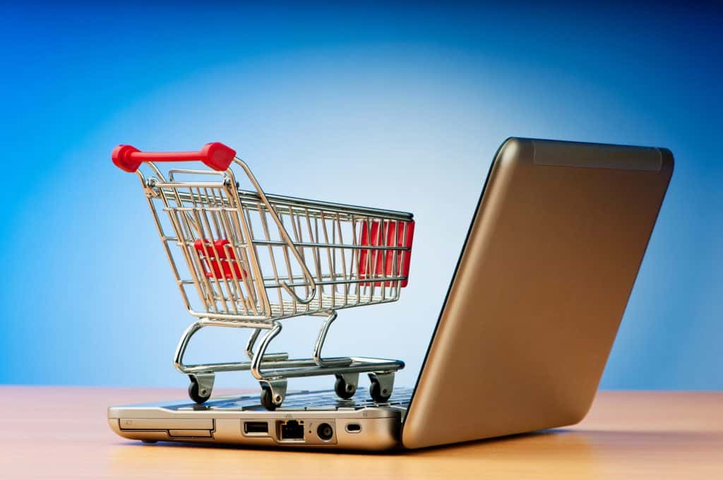 consumer shopping cart model on a laptop