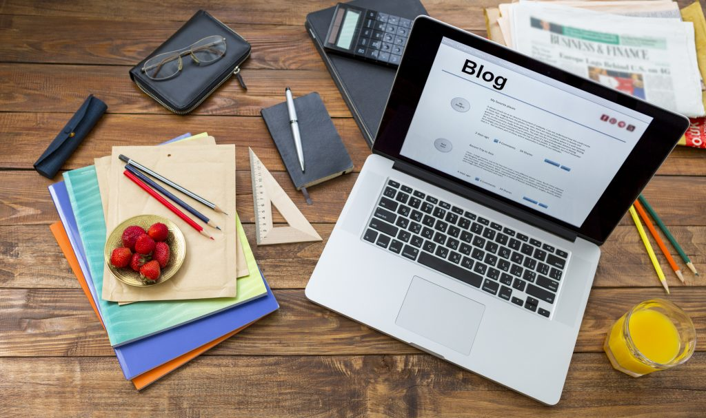 business blog on a laptop