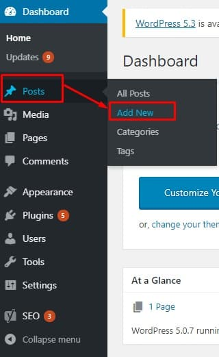 wp add new post dashboard