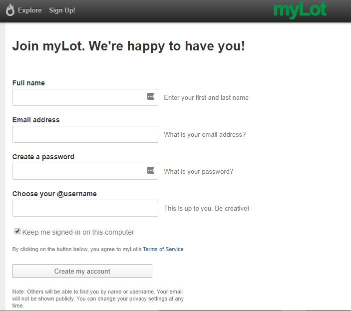 my lot sign up page