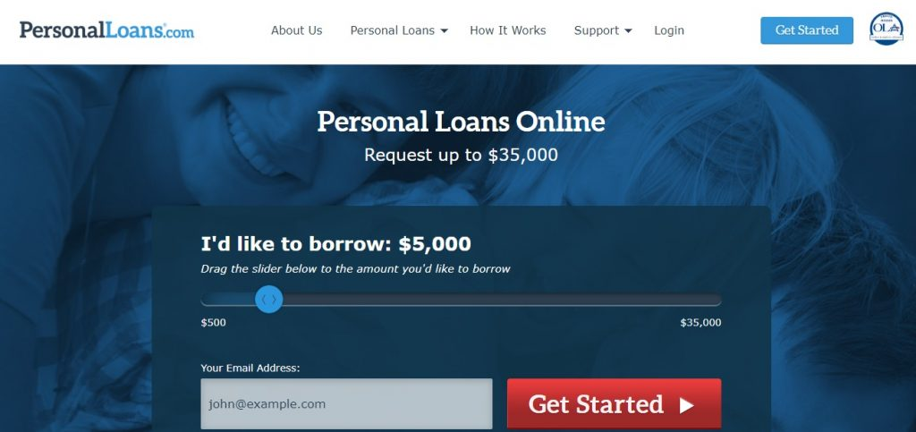 personal loans homepage preview