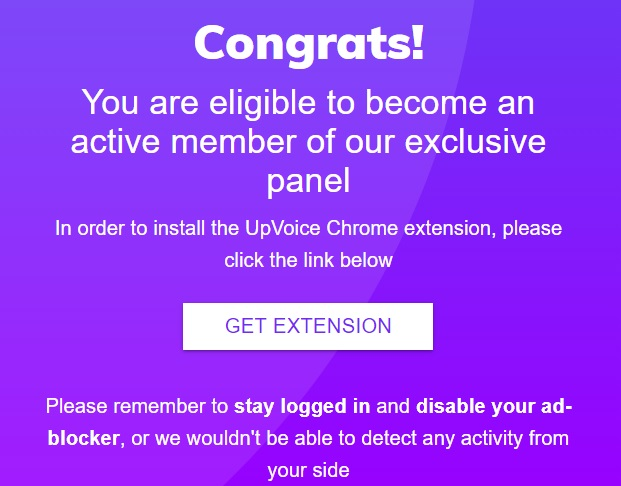 upvoice joining confirmation screen