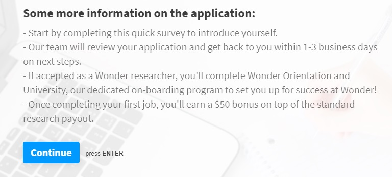 askwonder application page