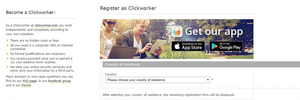 become a Clickworker layout page
