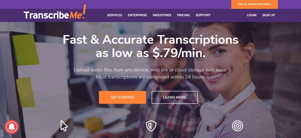 transcribeme homepage preview