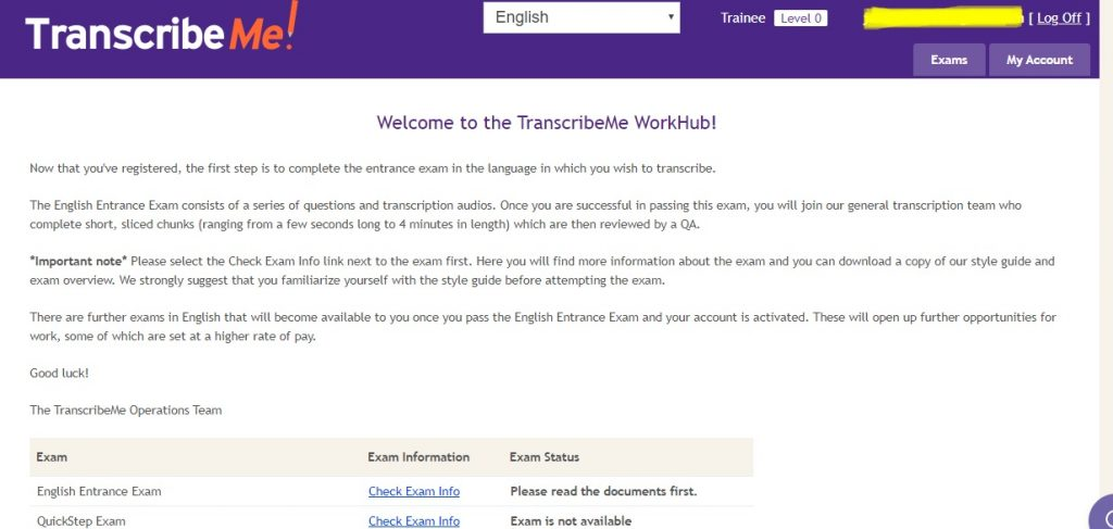 transcribeme test page layout