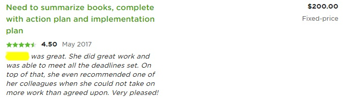 upwork review layout