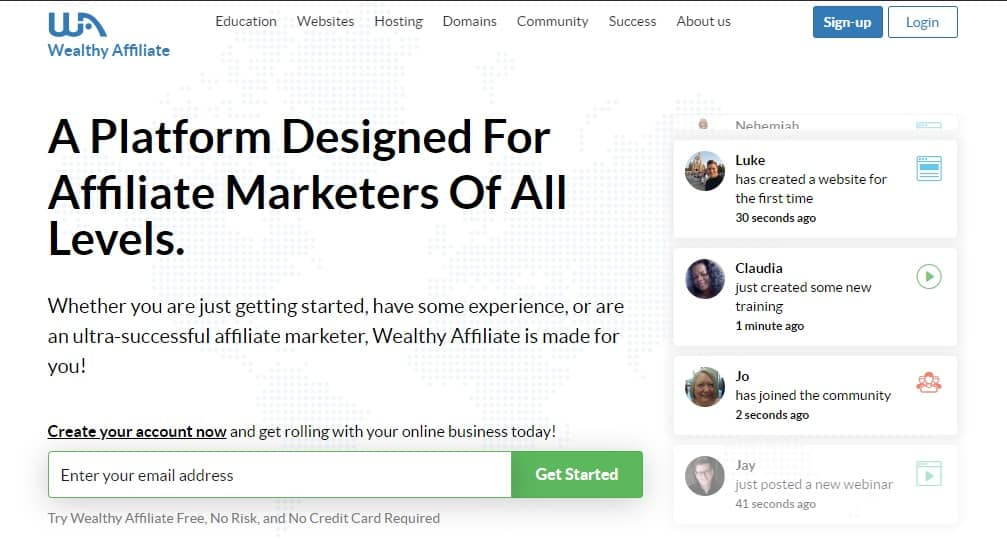 wealthy affiliate homepage preview