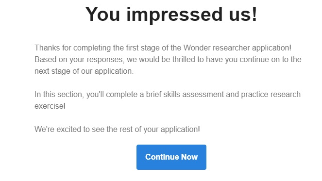 wonder only confirmation page