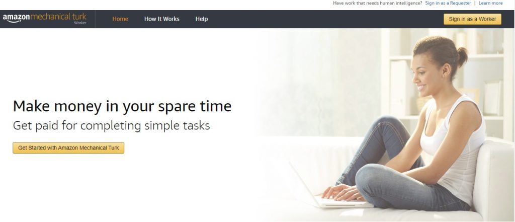 Amazon Mechanical Turk homepage preview