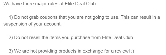 elitedealclub three rules