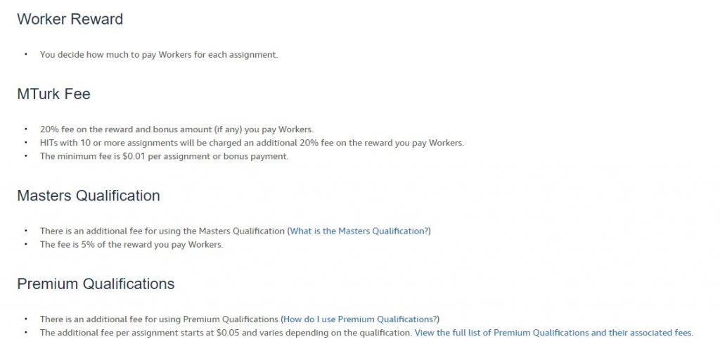 mechanical turk payment rewards list