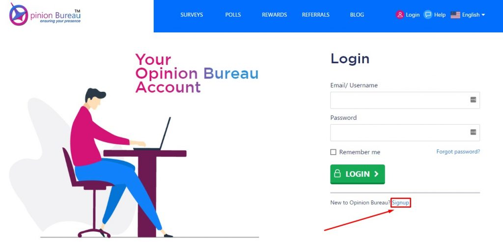opinionbureau sign up button location