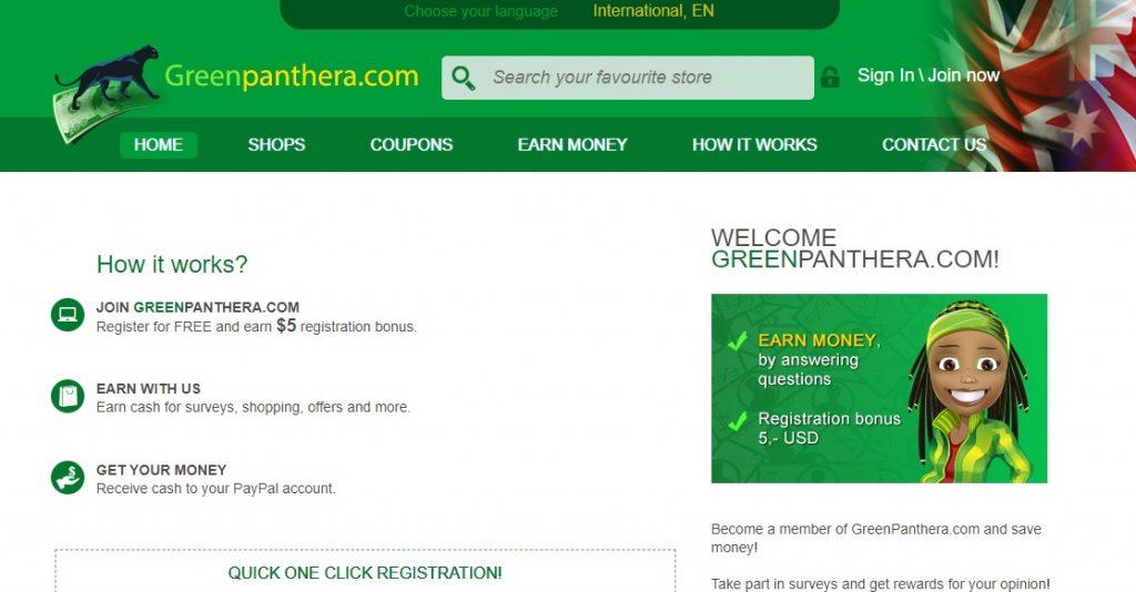 GreenPanthera homepage preview layout