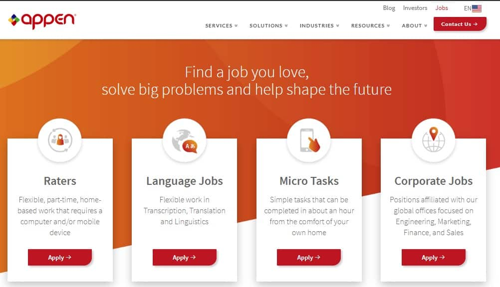 appen job opportunities page