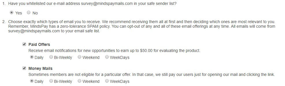 minds pay email options screen