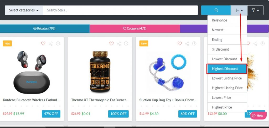 rebatekey highest discount filter page